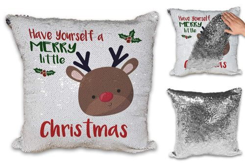 Merry Little Christmas Reindeer Novelty Sequin Reveal Magic Cushion Cover